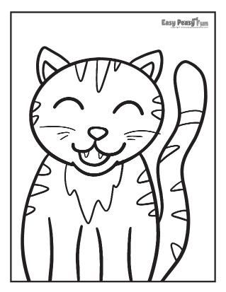 Happy Cat Coloring Sheet