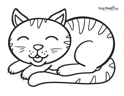 Sleepy Cat Coloring Sheet