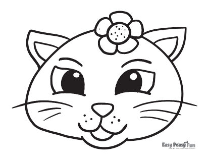 Easy Cat Coloring Pages for Preschool