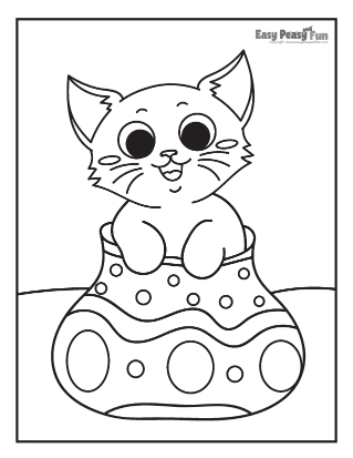 Cat in a Vase Coloring Sheet