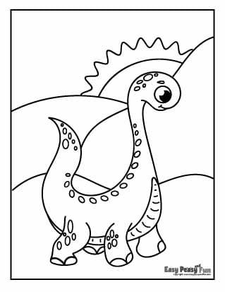 Dino and Hills Coloring Page