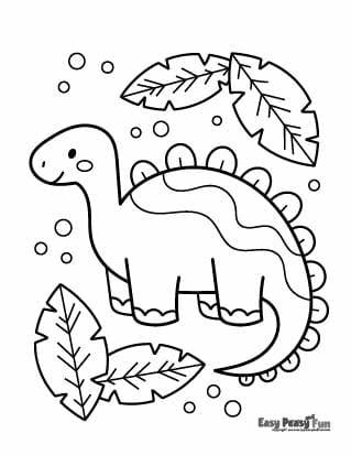 Dino and Leaves Coloring Sheet