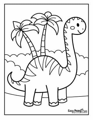 Dino and Palms Coloring Sheet