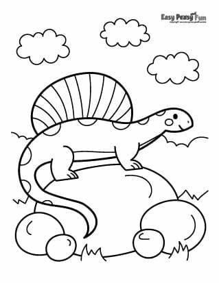 Dinosaur on a Rock Coloring Pages
