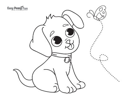 Cute Puppy and a Butterfly