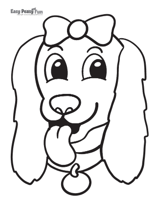 Dog with a Bow Coloring Sheet