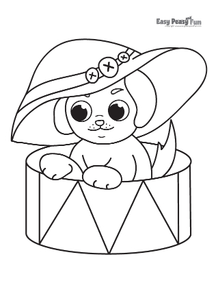 A Puppy with a Hat Coloring Page