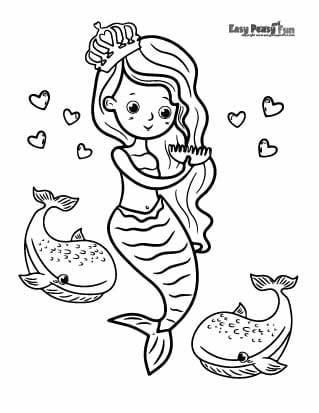 Whales and mermaid coloring pages