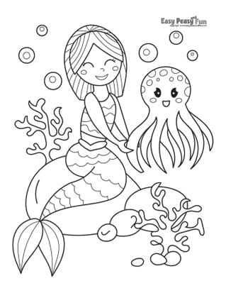 Octopus and Mermaid Coloring Pages