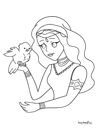 Lady and a Bird