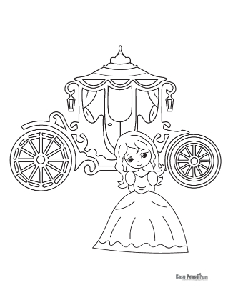 Princess and Carriage Coloring Pages