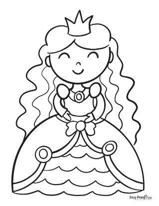 Princess Coloring Page for Kindergarten