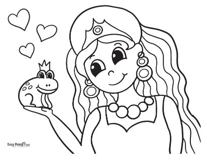 Princess and A Frog Coloring Page
