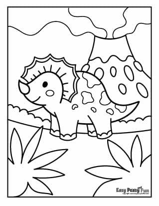 Cute Dino and Volcano Coloring Page