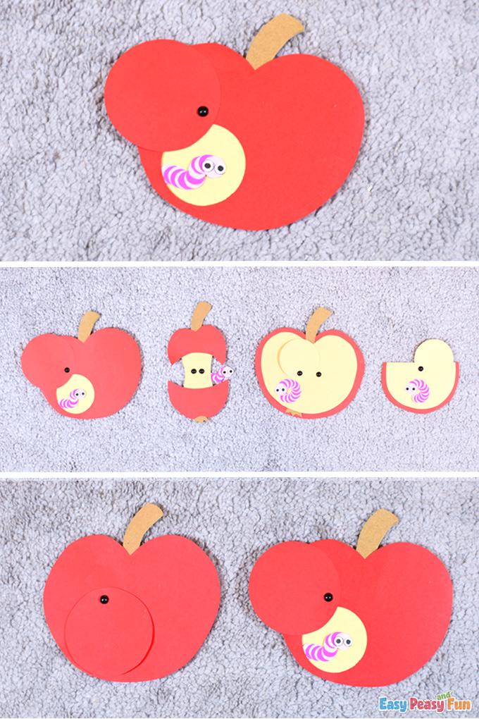 Artisanat de papier de ver de pomme