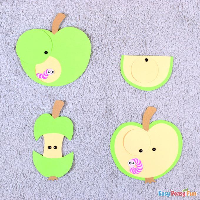 Pomme avec ver de papier Craft