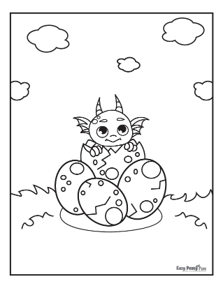 Dragon Hatching Coloring Page