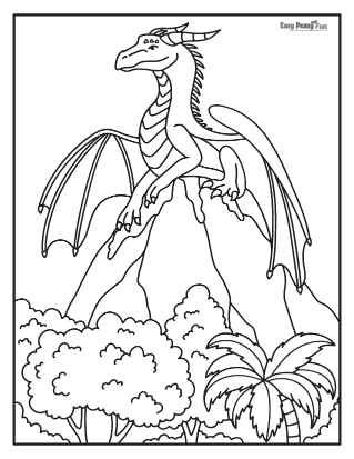 Mythical dragon coloring pages