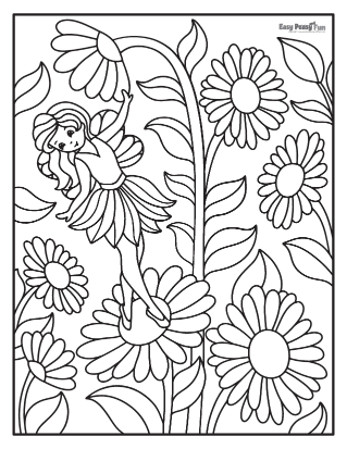 Fairy among Flowers Coloring Sheet