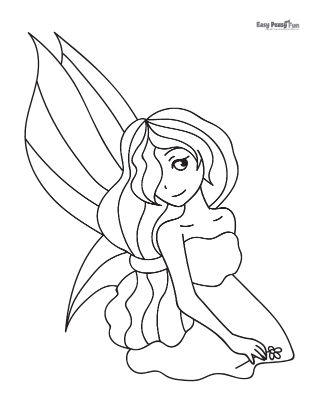 Shy Fairy Coloring Page