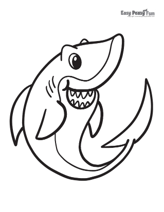 Smiling Shark Coloring Pages