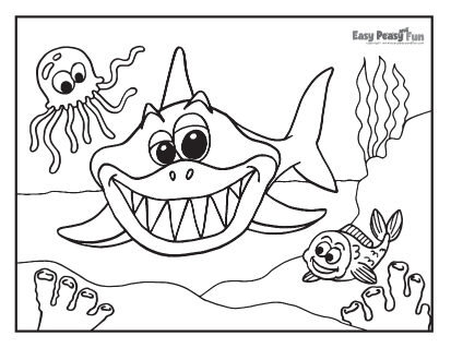 Shark, Fish and Octopus Coloring Page