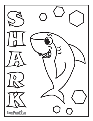 Word Shark Coloring Page