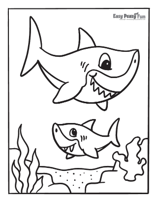Cute Sharks Coloring Page
