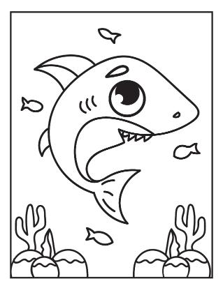 Shark and Fish Coloring Page