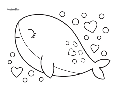 Whale and Hearts Coloring Sheet