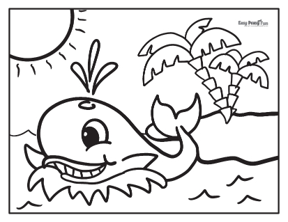 Whale and Island Coloring Page