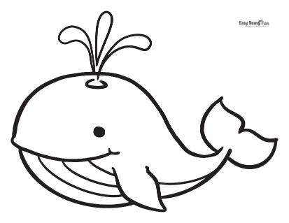 Simple Whale Coloring Pages