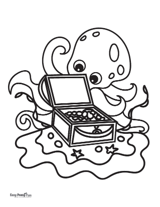 Finding Treasure Coloring Page