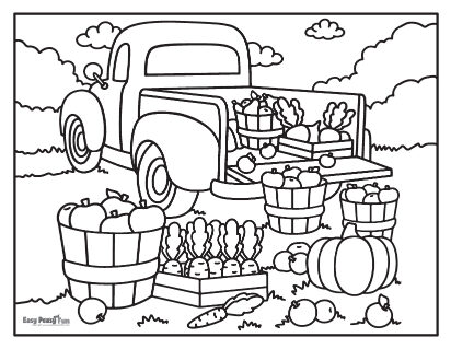 Récolte d'automne - Coloriages d'automne