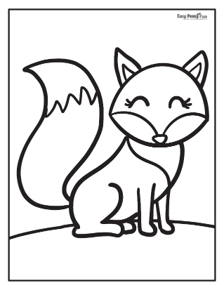 Easy Fox Coloring Pages
