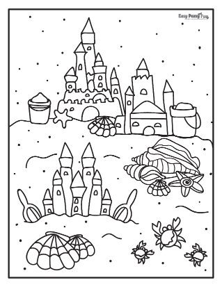 Sand Castles Summer Coloring Pages