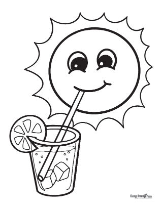 Sun with Lemonade Summer Coloring Pages