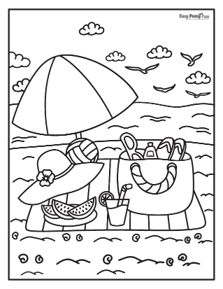 On the Beach Summer Coloring Pages