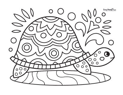 Intricate Turtle Coloring Sheet