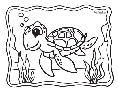 Easy Turtle Coloring Pages
