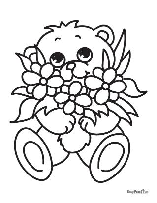Coloriage ours et fleurs
