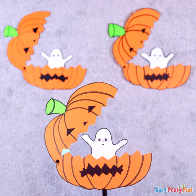 DIY Paper Ghost in a Pumpkin Halloween Craft