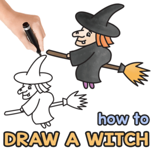 Witch Directed Drawing Guide