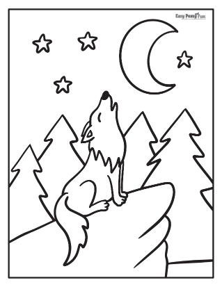 Coloriage Loup hurlant