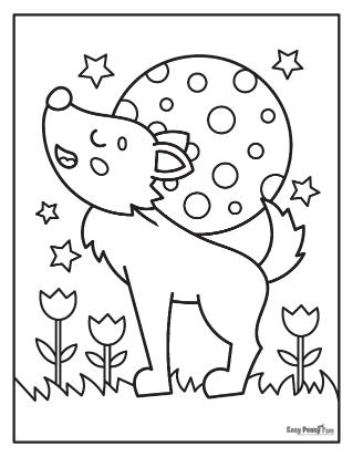 Feuille de coloriage loup mignon